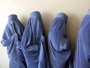 Afghan Women in Burqas Lined Up to Vote