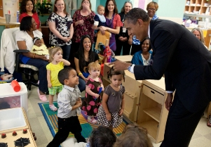 President Obama with School Kids